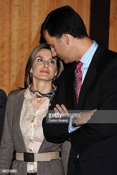 Crown Prince Felipe and Princess Letizia of Spain present Iberian American Project at the Casa de America on October 10 2008 in Madrid Spain