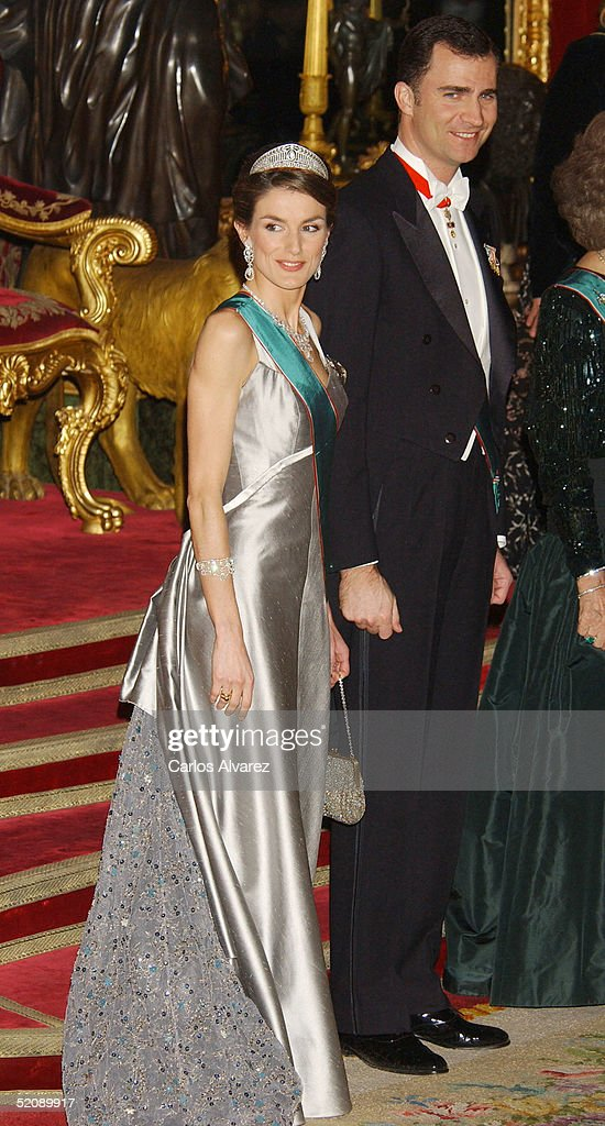 Crown Prince Felipe and Princess Letizia of Spain receive the Hungarian President and his wife at a Gala Dinner at the Royal Palace in Madrid on January 31, 2005 in Madrid, Spain.