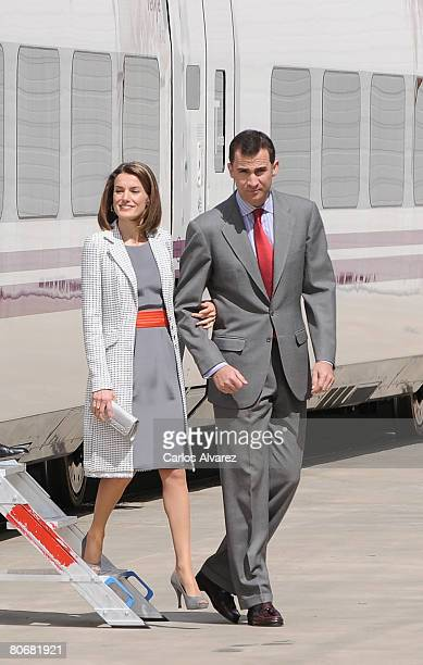 Crown Prince Felipe and Princess Letizia of Spain visit Talgo Trains Factory on April 15 2008 in Las Matas near of Madrid