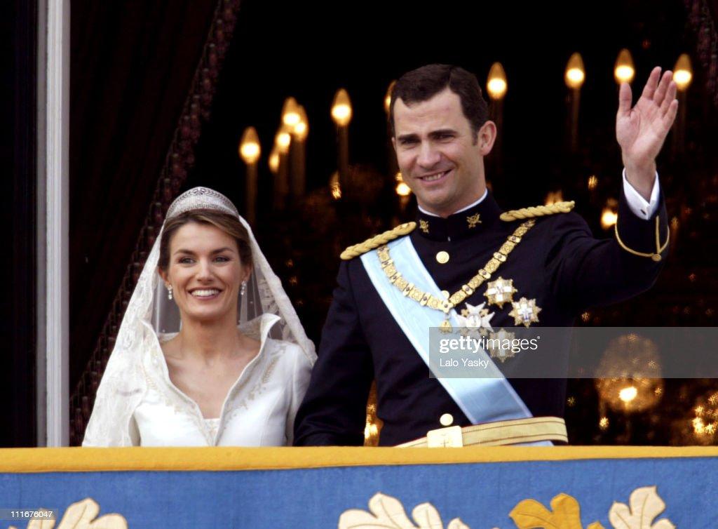 Crown Prince Felipe and Princess Letizia Ortiz during Royal Wedding Between Prince Felipe of Spain and Letiza Ortiz at Alumudena Cathedral in Madrid, Spain.