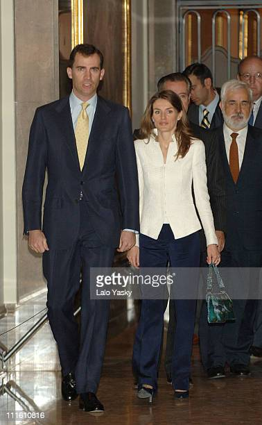 Crown Prince Felipe and Princess Letizia Preside a Post Graduation Grants Ceremony Given by Caja Madrid Bank at the San Fernando Royal Academy of...