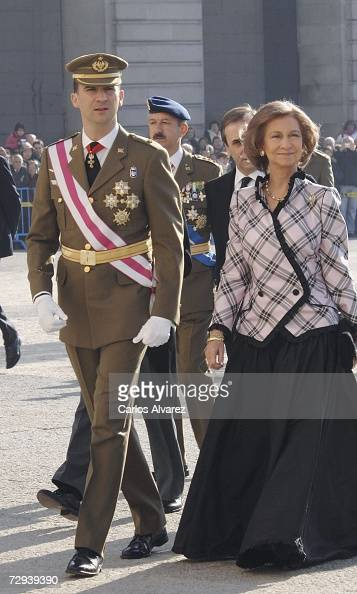Crown Prince Felipe and Queen Sofia of Spain attend 'Pascua Militar' Day on January 6 2007 at Royal Palace in Madrid Spain
