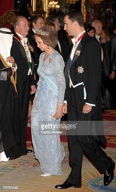 Crown Prince Felipe and Queen Sofia of Spain receive Saudi King Abdullah Bin Abdul Aziz Al Saud for a Gala dinner on June 18 2007 at Royal Palace in...