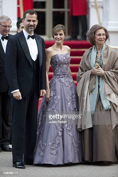 Crown Prince Felipe Crown Princess Letizia And Queen Sofia Of Spain Attend A Pre Wedding Party On The Eve Of Prince Williams Wedding To Kate...