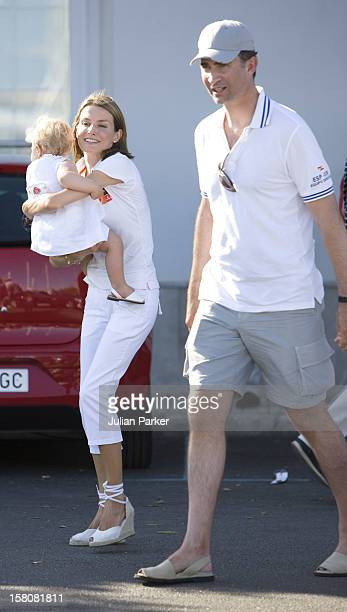 Crown Prince Felipe Crown Princess Letizia Of Spain With Their Children Princess Leonor And Princess Sofia Accompanied By Queen Sofia Of Spain At The...