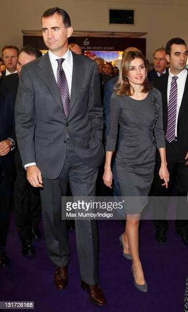 Crown Prince Felipe of Spain and Crown Princess Letizia of Spain visit the 'World Travel Market' international tourism fair at the ExCeL exhibition...