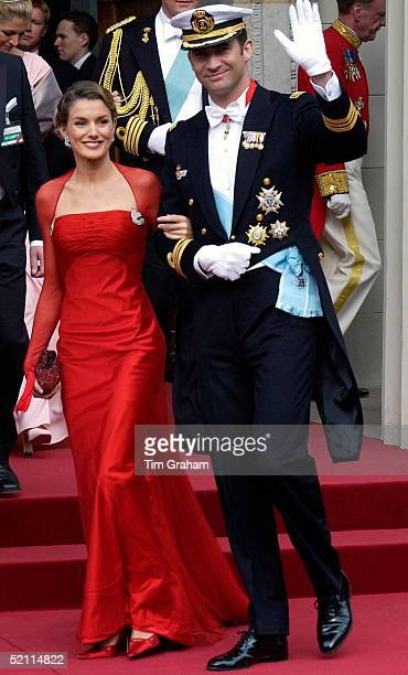 Crown Prince Felipe Of Spain And His Fiancee Letizia Ortiz Rocasolano At The Royal Wedding In Copenhagen Cathedral