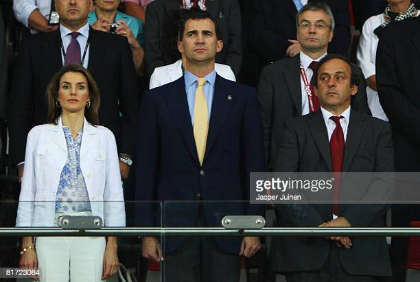 Crown Prince Felipe of Spain and his his wife Princess of Spain Letizia prior to the UEFA EURO 2008 Semi Final match between Russia and Spain at...