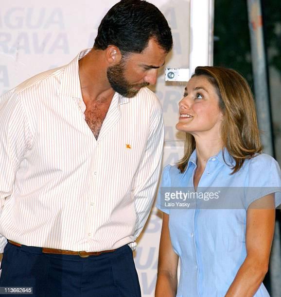 Crown Prince Felipe of Spain and Princess Letizia of Asturias attend the Copa del Rey Awards Ceremony at the Club Nautico in Palma de Mallorca