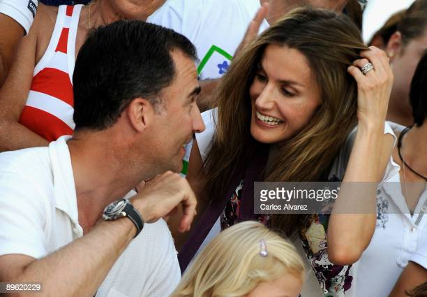 Crown Prince Felipe of Spain and Princess Letizia of Spain attend Jaume Angladas pop concert during the third day of 28th Copa del Rey Audi Sailing...