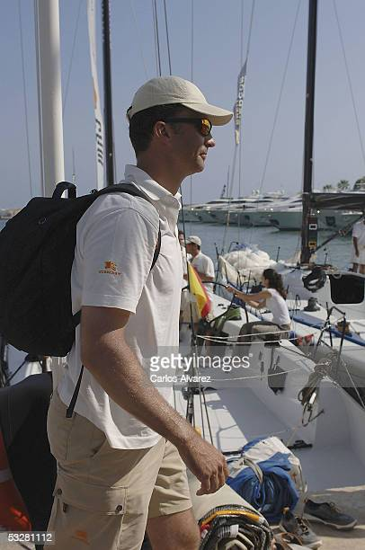 Crown Prince Felipe of Spain is pictured during the fourth day of The Breitling Sailing Cup on July 24 2005 in Palma de Mallorca Spain