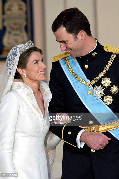 Crown Prince Felipe Of Spain Prince Of The Asturias Laughing With His Bride Crown Princess Letizia In The Royal Palace After Their Wedding