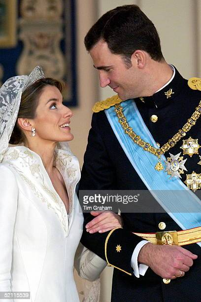 Crown Prince Felipe Of Spain Prince Of The Asturias With His Bride Crown Princess Letizia Chatting Together In The Royal Palace