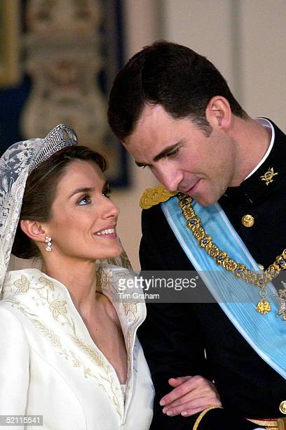Crown Prince Felipe Of Spain Prince Of The Asturias With His Bride Crown Princess Letizia In The Royal Palace