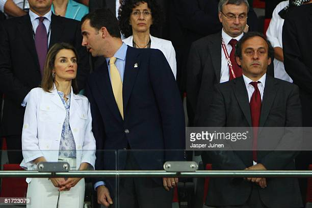 Crown Prince Felipe of Spain talks to his wife Princess of Spain Letizia prior to the UEFA EURO 2008 Semi Final match between Russia and Spain at...