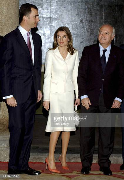 Crown Prince Felipe Princess Letizia and Minister Miguel Angel Moratinos