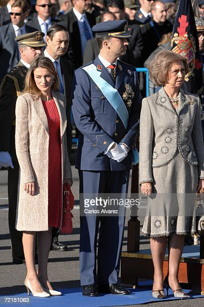 Crown Prince Felipe Princess Letizia and Queen Sofia of Spain attend Spain's National Day Military Parade in Castellana Avenue on October 12 2006 in...
