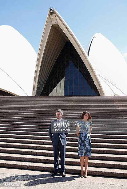 Crown Prince Frederick and Crown Princess Mary of Denmark pose on the Opera House forecourt on October 24 2013 in Sydney Australia Prince Frederick...