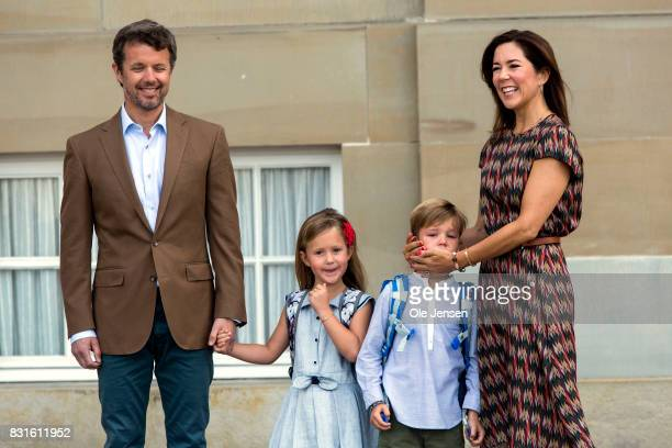 Crown Prince Frederik and Crown Princess Mary accompany their children Princess Jesephine and Prince Wincent to the first day at school on August 15...
