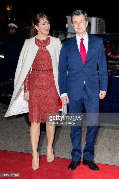 Crown Prince Frederik and Crown Princess Mary arrive at the Nordatlantens Brygge for the return concert offered by the president of Iceland to the...