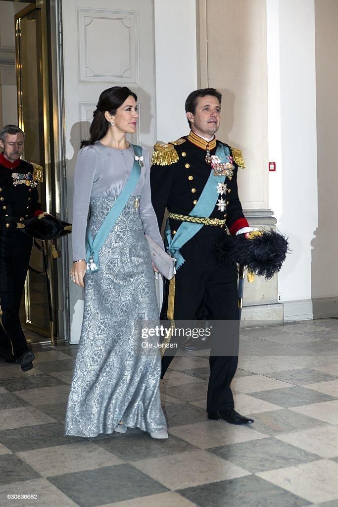 Crown Prince Frederik and Crown Princess Mary arrive to Queen Margrethe of Denmark's New Year's reception at Christiansborg - the parliament building - for the foreign diplomatic corps on January 3, 2017 in Copenhagen, Denmark.