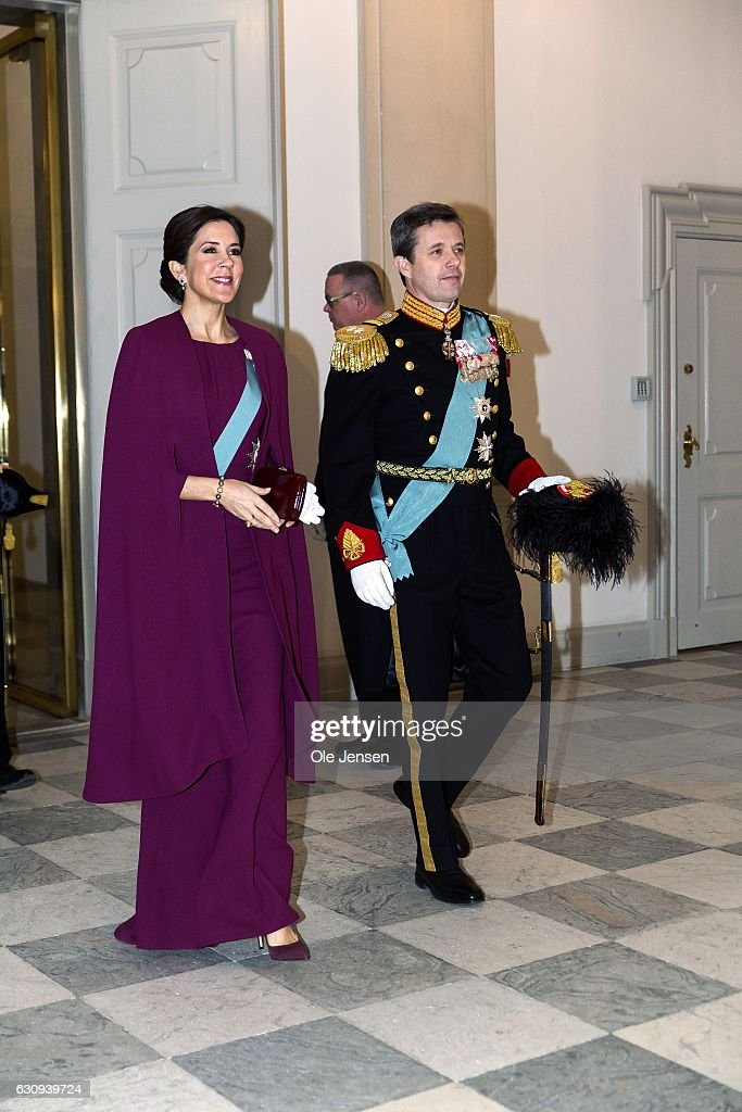 Crown Prince Frederik and Crown Princess Mary arrive to the New Year's reception at Christiansborg - the parliament building - which Queen Margrethe holds for high ranking military, civil defense and organisations on January 4, 2017 in Copenhagen, Denmark.