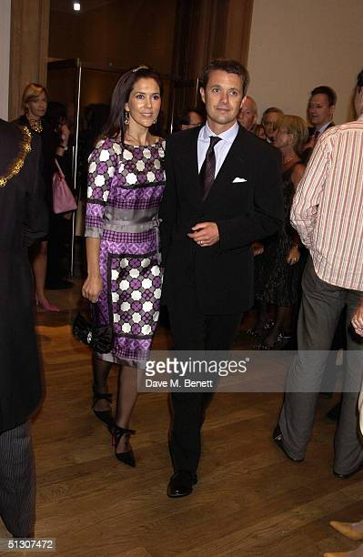 Crown Prince Frederik and Crown Princess Mary attend a private view and reception for a new show 'Ancient Art To PostImpressionism' at the Royal...