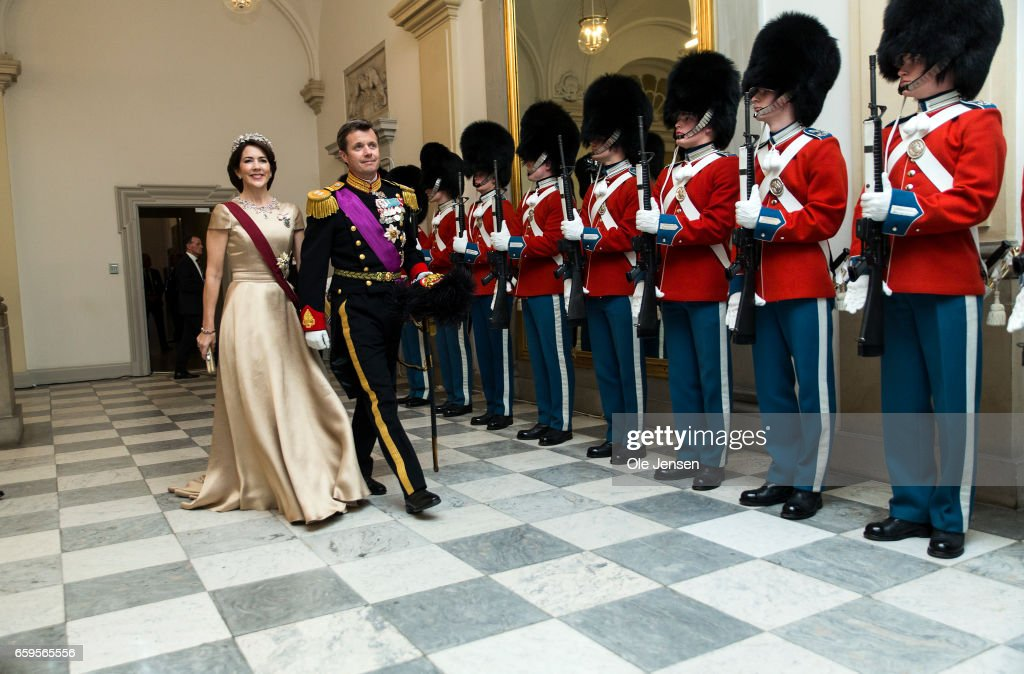 Crown Prince Frederik and Crown Princess Mary during arrival to the to the State Dinner on the occasion of the visiting Belgian King and Queen at Christiansborg on March 28, 2017 in Copenhagen, Denmark. The royal Belgian couple will be on a state visit from March 28 till March 30.