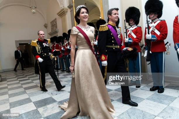 Crown Prince Frederik and Crown Princess Mary during arrival to the to the State Dinner on the occasion of the visiting Belgian King and Queen at...