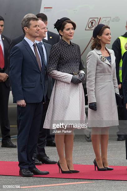 Crown Prince Frederik and Crown Princess Mary of Denmark and Princess Marie of Denmark at Copenhagen Airport for the arrival of The President and his...