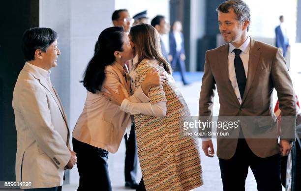 Crown Prince Frederik and Crown Princess Mary of Denmark are welcomed by Japanese Crown Prince Naruhito and Crown Princess Masako on arrival at a...