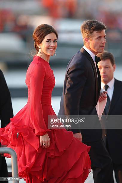 Crown Prince Frederik and Crown Princess Mary of Denmark arrive at the Muziekbouw following the water pageant after the abdication of Queen Beatrix...