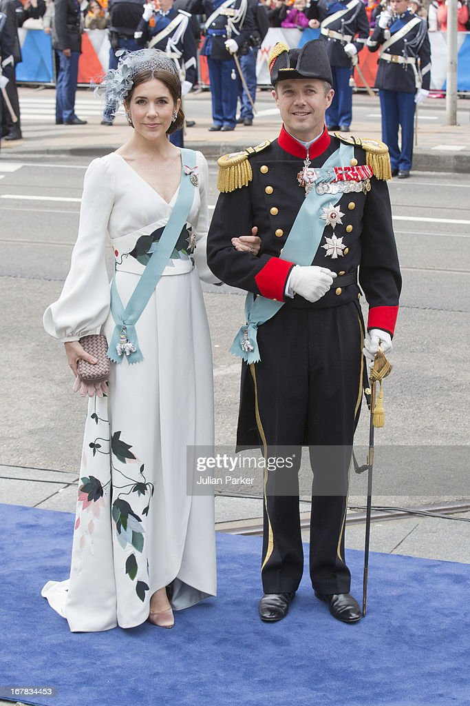 Crown Prince Frederik, and Crown Princess Mary of Denmark arrive at the Nieuwe Kerk in Amsterdam for the inauguration ceremony of King Willem Alexander of the Netherlands, on April 30, 2013 in Amsterdam, Netherlands.