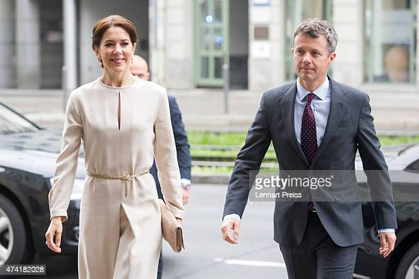 Crown Prince Frederik and Crown Princess Mary of Denmark arrive at Loewenbraukeller during their visit to Germany on May 21 2015 in Munich Germany