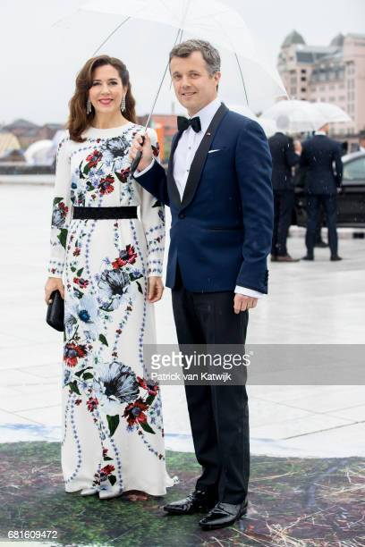 Crown Prince Frederik and Crown Princess Mary of Denmark arrive at the Opera House on the ocassion of the celebration of King Harald and Queen Sonja...