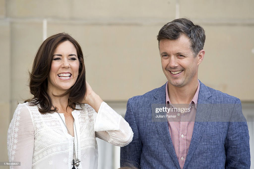 Crown Prince Frederik, and Crown Princess Mary of Denmark, at Amalienborg Palace to accompany their daughter Princess Isabella on her first day at Tranegard School, near Copenhagen. on August 13, 2013 in Copenhagen, Denmark.