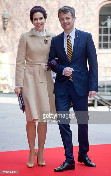 Crown Prince Frederik and Crown Princess Mary of Denmark attend a Lunch at City Hall Stockholm on the occasion of King Carl Gustaf of Sweden's 70th...