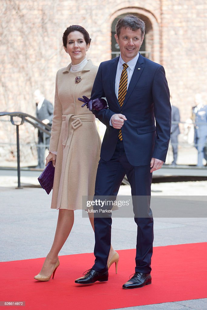 Crown Prince Frederik, and Crown Princess Mary of Denmark attend a Lunch at City Hall Stockholm, on the occasion of King Carl Gustaf of Sweden's 70th Birthday, on April 30, 2016, in Stockholm, Sweden.