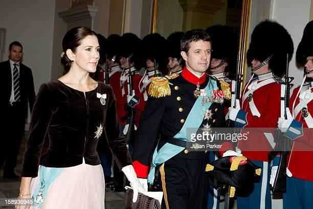 Crown Prince Frederik and Crown Princess Mary of Denmark attend a New Year's Levee for officers from the Defence and Danish Emergency management...