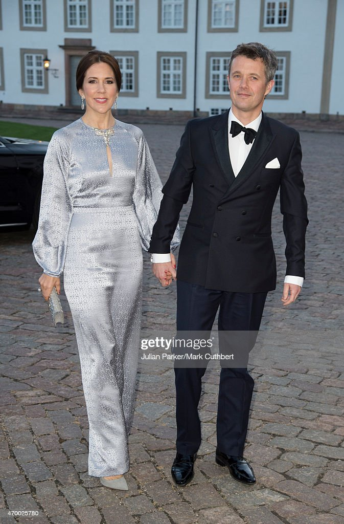 Crown Prince Frederik and Crown Princess Mary of Denmark attend a Gala Dinner at Fredensborg Palace on the evening of Queen Margrethe II of Denmark's 75th Birthday on April 16, 2015 in Fredensborg, Denmark.