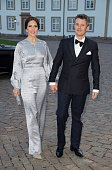 Crown Prince Frederik and Crown Princess Mary of Denmark attend a Gala Dinner at Fredensborg Palace on the evening of Queen Margrethe II of Denmark's...