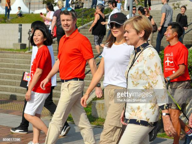 Crown Prince Frederik and Crown Princess Mary of Denmark attend a walkathon marking the 150th anniversary of the diplomatic relationship between...