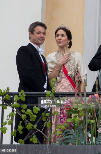 Crown Prince Frederik and Crown Princess Mary of Denmark attend an official Gala dinner at the Royal Palace in Oslo as part of The Celebrations of...