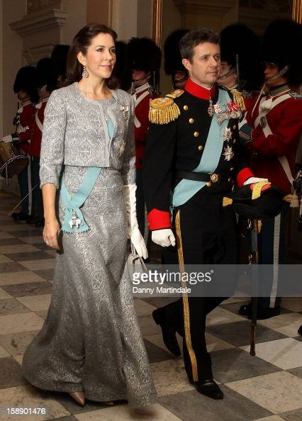 Crown Prince Frederik and Crown Princess Mary of Denmark attend New Year's Levee held by Queen Margrethe of Denmark at Christian VII's Palace on...