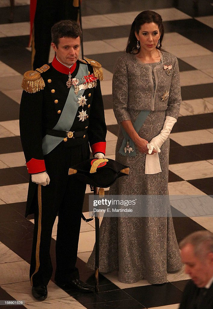 Crown Prince Frederik, and Crown Princess Mary of Denmark attend New Year's Levee held by Queen Margrethe of Denmark at Christian VII's Palace on January 3, 2013 in Copenhagen, Denmark.