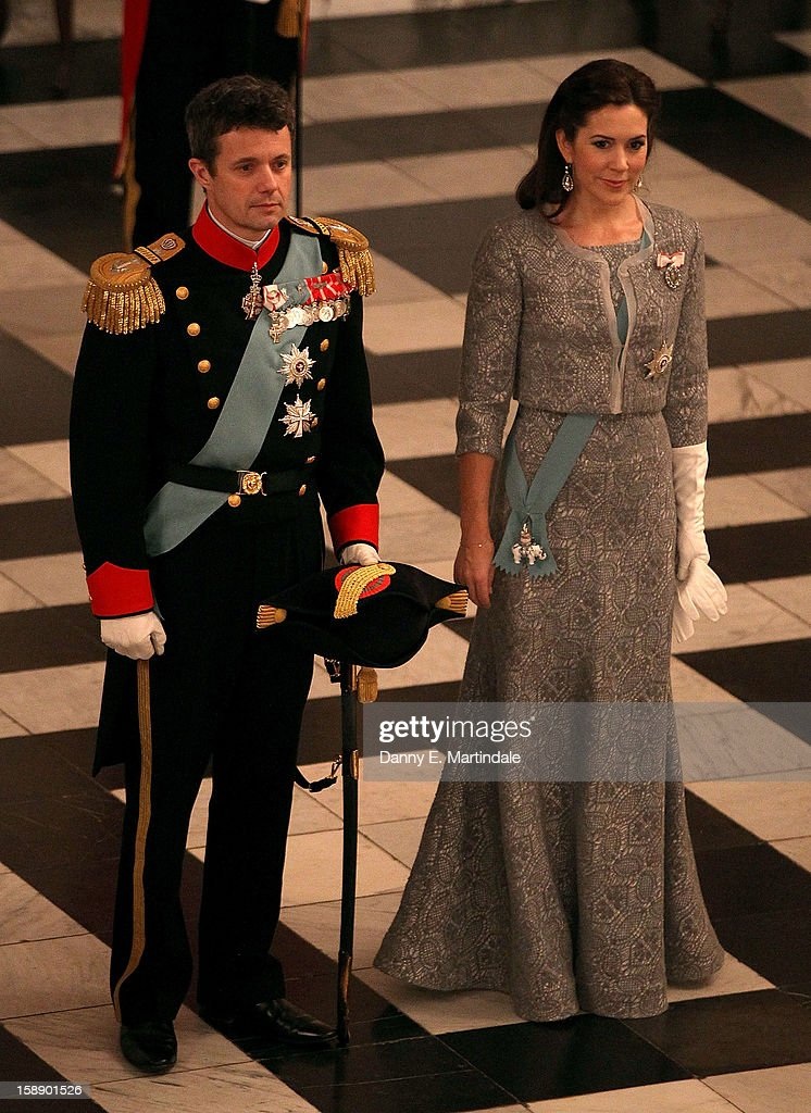 Crown Prince Frederik, and <a gi-track='captionPersonalityLinkClicked' href=/galleries/search?phrase=Crown+Princess+Mary+of+Denmark&family=editorial&specificpeople=158374 ng-click='$event.stopPropagation()'>Crown Princess Mary of Denmark</a> attend New Year's Levee held by Queen Margrethe of Denmark at Christian VII's Palace on January 3, 2013 in Copenhagen, Denmark.