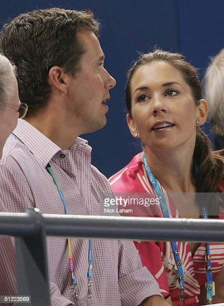 Crown Prince Frederik and Crown Princess Mary of Denmark attend the women's handball quarterfinal between Denmark and China on August 26 2004 during...