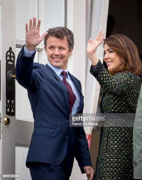 Crown Prince Frederik and Crown Princess Mary of Denmark attend the 77th birthday celebrations of Danish Queen Margrethe at Marselisborg Palace on...
