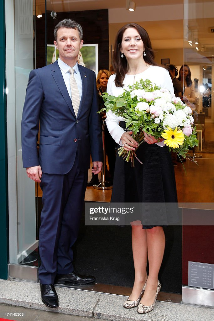 Crown Prince Frederik and Crown Princess Mary of Denmark during the ECCO store opening on May 20, 2015 in Munich, Germany.