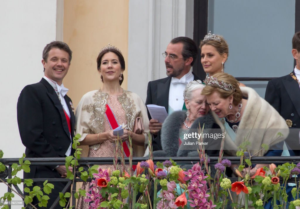 Crown Prince Frederik and Crown Princess Mary of Denmark, Prince Nikolaos and Princess Tatiana of Greece, and Queen Margrethe of Denmark and Queen Anne Marie of Greece, attend an official Gala dinner at the Royal Palace, in Oslo, as part of The Celebrations of the 80th Birthdays of King Harald and Queen Sonja of Norway. on May 9, 2017 in Oslo, Norway.